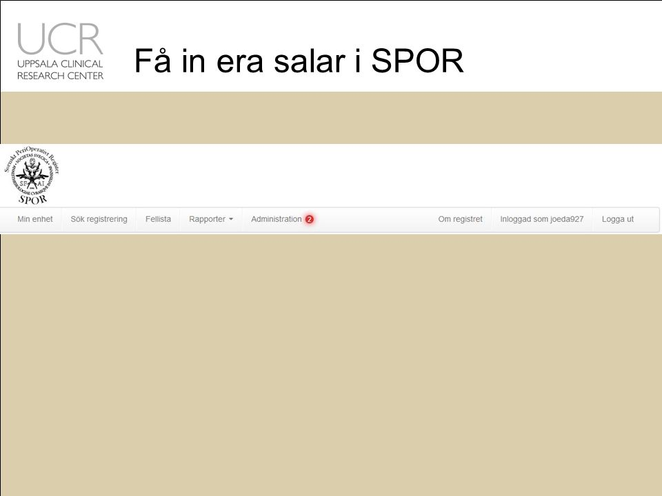 Få in era salar i SPOR