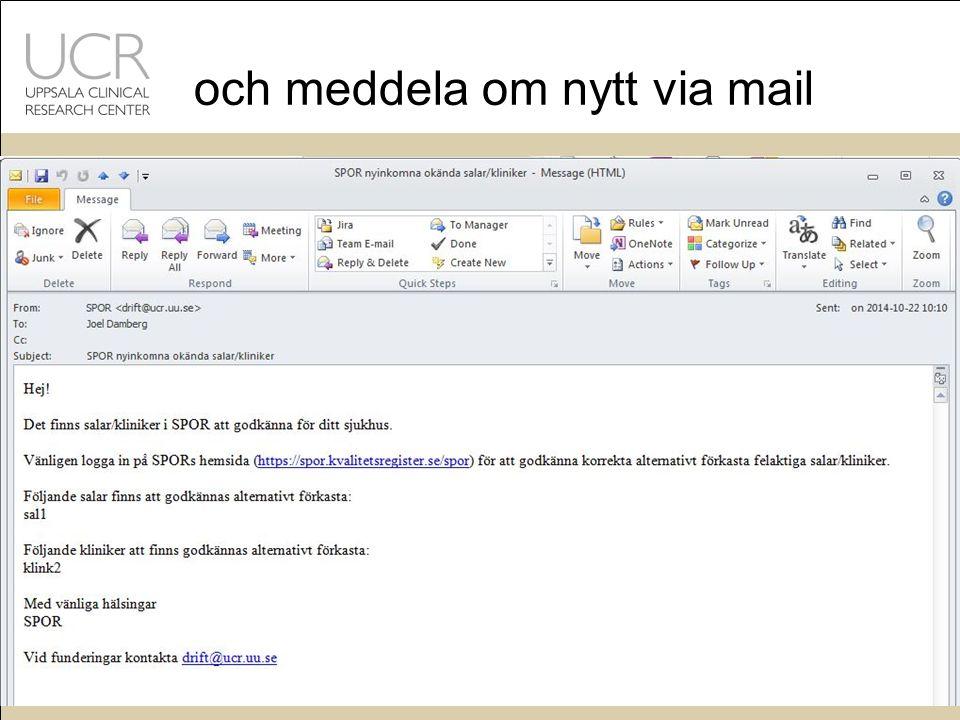 och meddela om nytt via mail