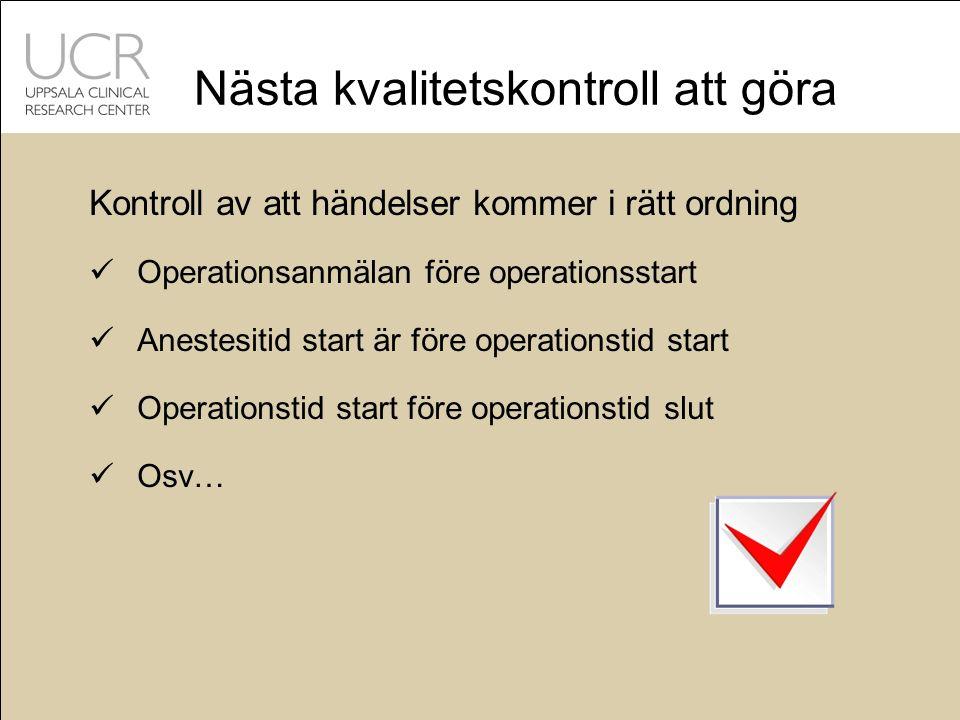 Nästa kvalitetskontroll att göra Kontroll av att händelser kommer i rätt ordning Operationsanmälan före operationsstart Anestesitid start är före operationstid start Operationstid start före operationstid slut Osv…