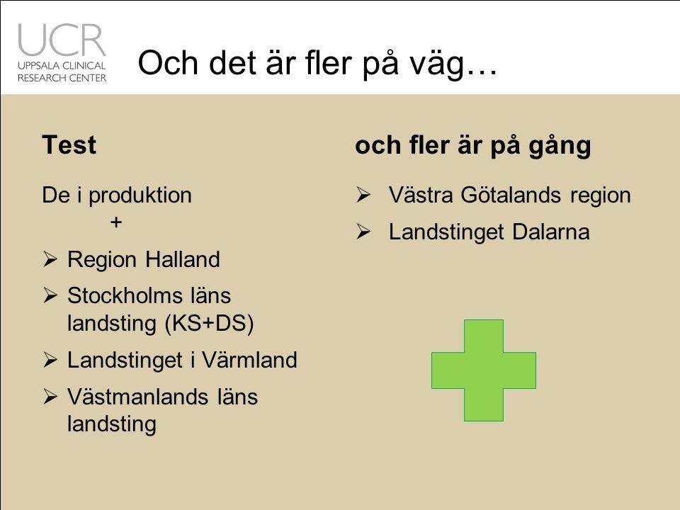 Och det är fler på väg… Test De i produktion +  Region Halland  Stockholms läns landsting (KS+DS)  Landstinget i Värmland  Västmanlands läns landsting och fler är på gång  Västra Götalands region  Landstinget Dalarna