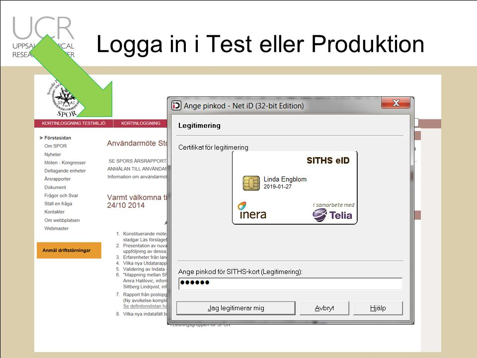 Logga in i Test eller Produktion