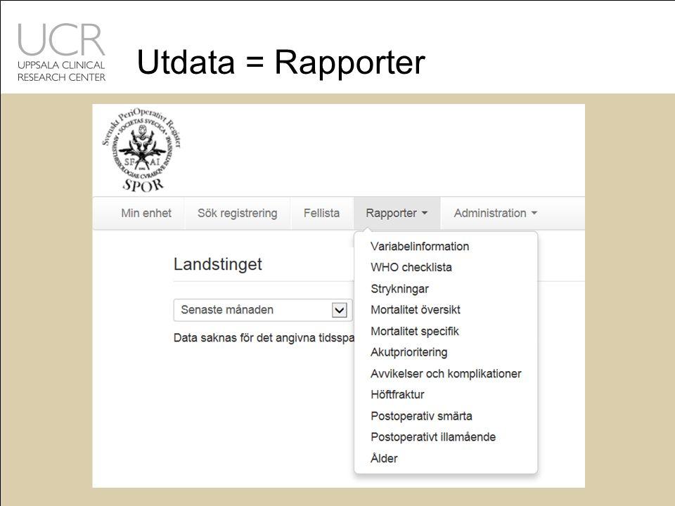 Utdata = Rapporter