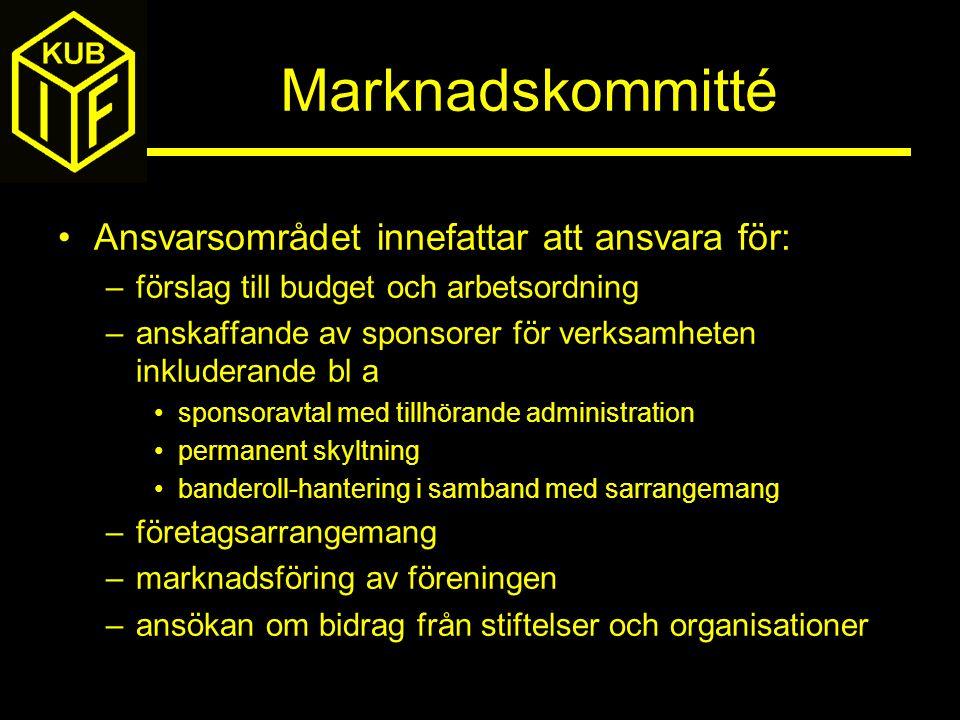 Marknadskommitté Ansvarsområdet innefattar att ansvara för: –förslag till budget och arbetsordning –anskaffande av sponsorer för verksamheten inkluder