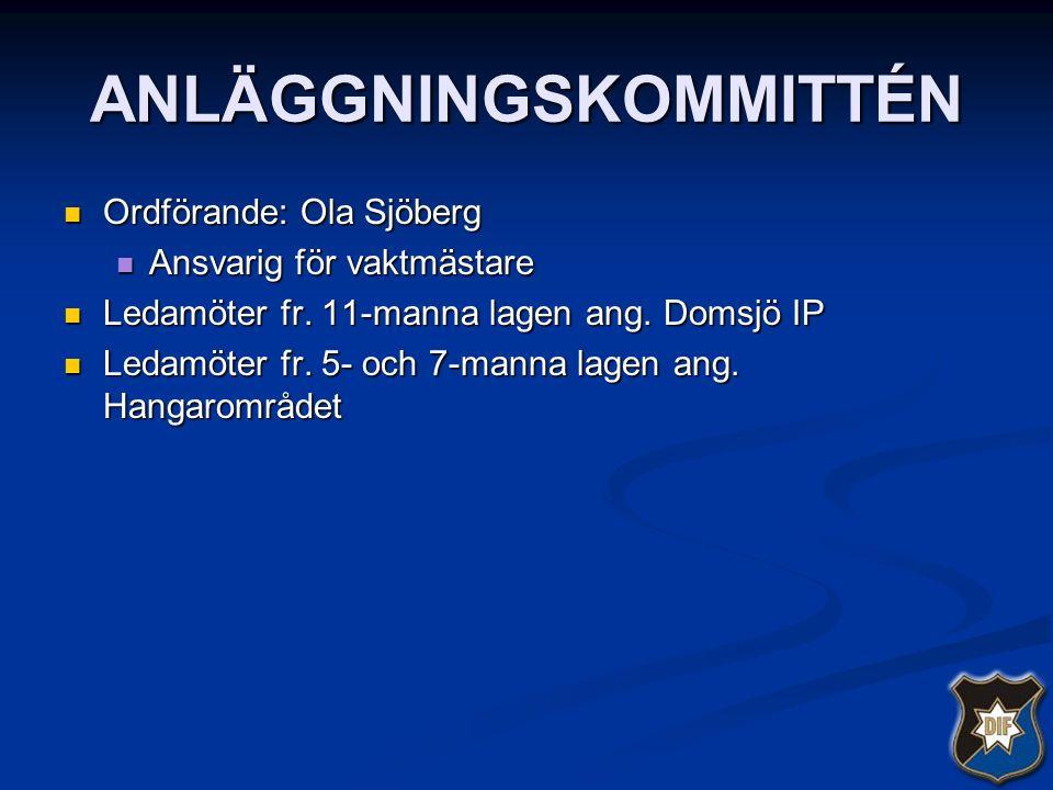 ANLÄGGNINGSKOMMITTÉN Ordförande: Ola Sjöberg Ordförande: Ola Sjöberg Ansvarig för vaktmästare Ansvarig för vaktmästare Ledamöter fr. 11-manna lagen an