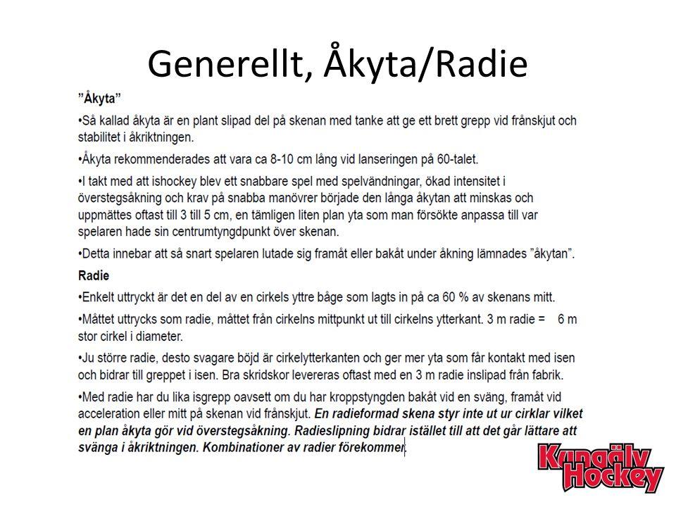 Generellt, Åkyta/Radie