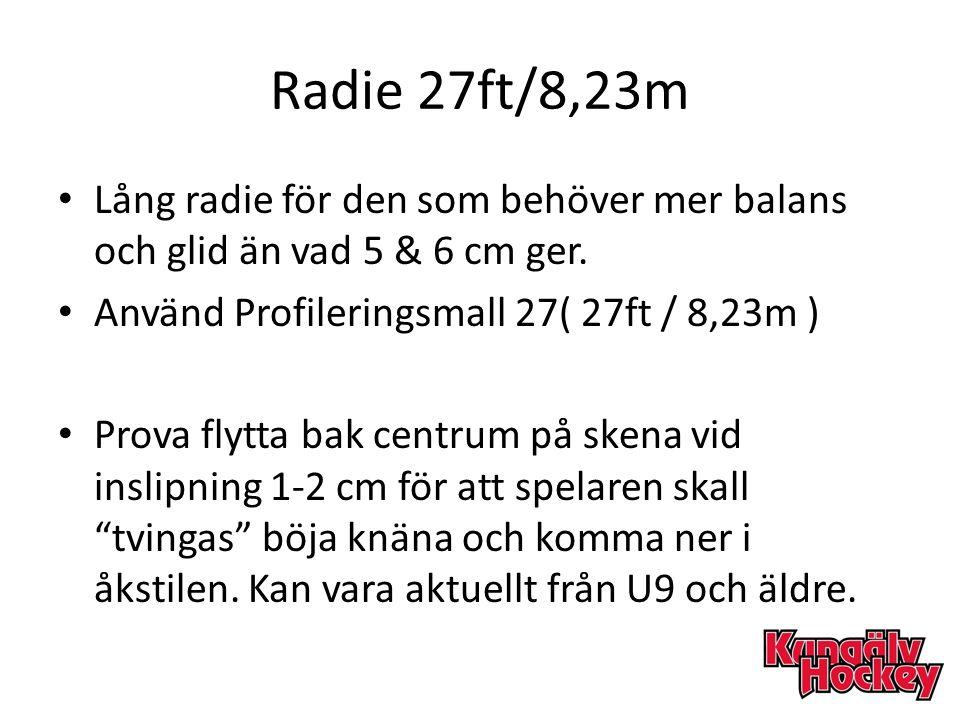 Radie 27ft/8,23m Lång radie för den som behöver mer balans och glid än vad 5 & 6 cm ger. Använd Profileringsmall 27( 27ft / 8,23m ) Prova flytta bak c