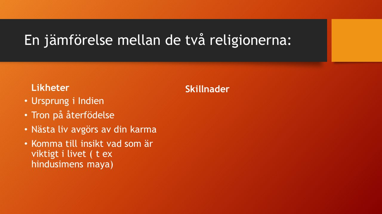 En jämförelse mellan de två religionerna: Likheter Ursprung i Indien Tron på återfödelse Nästa liv avgörs av din karma Verkligheten skyms av maya Liknande levnadsregler Skillnader