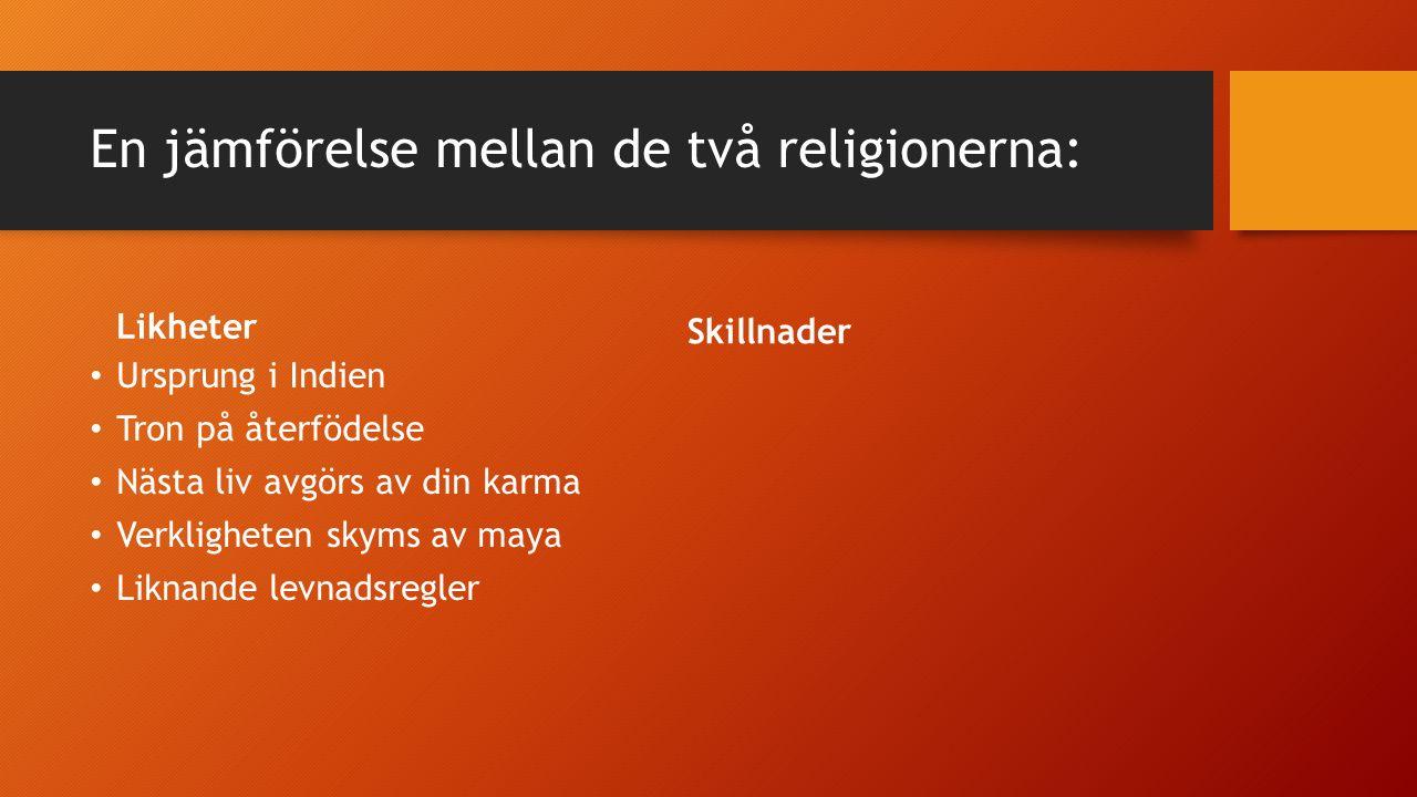 En jämförelse mellan de två religionerna: Likheter Ursprung i Indien Tron på återfödelse Nästa liv avgörs av din karma Verkligheten skyms av maya Liknande levnadsregler Andliga övningar är centrala Skillnader
