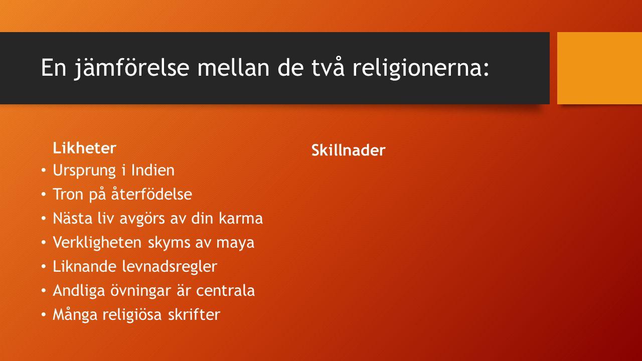 En jämförelse mellan de två religionerna: Likheter Ursprung i Indien Tron på återfödelse Nästa liv avgörs av din karma Verkligheten skyms av maya Liknande levnadsregler Andliga övningar är centrala Många religiösa skrifter Skillnader Oklart när hinduismen uppstod