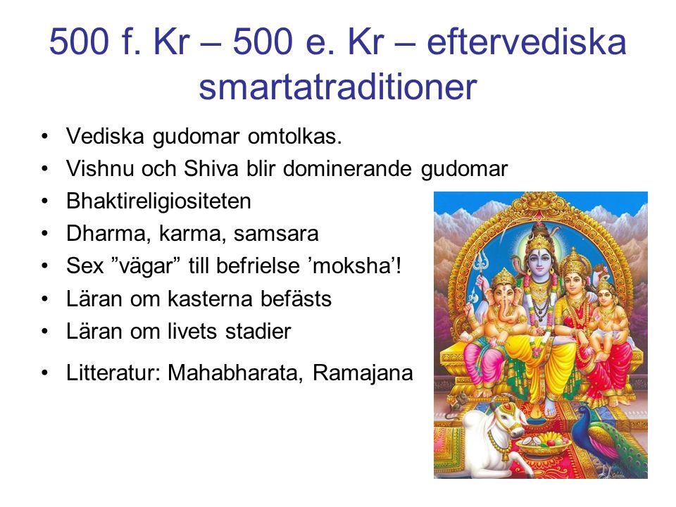 500 f. Kr – 500 e. Kr – eftervediska smartatraditioner Vediska gudomar omtolkas.