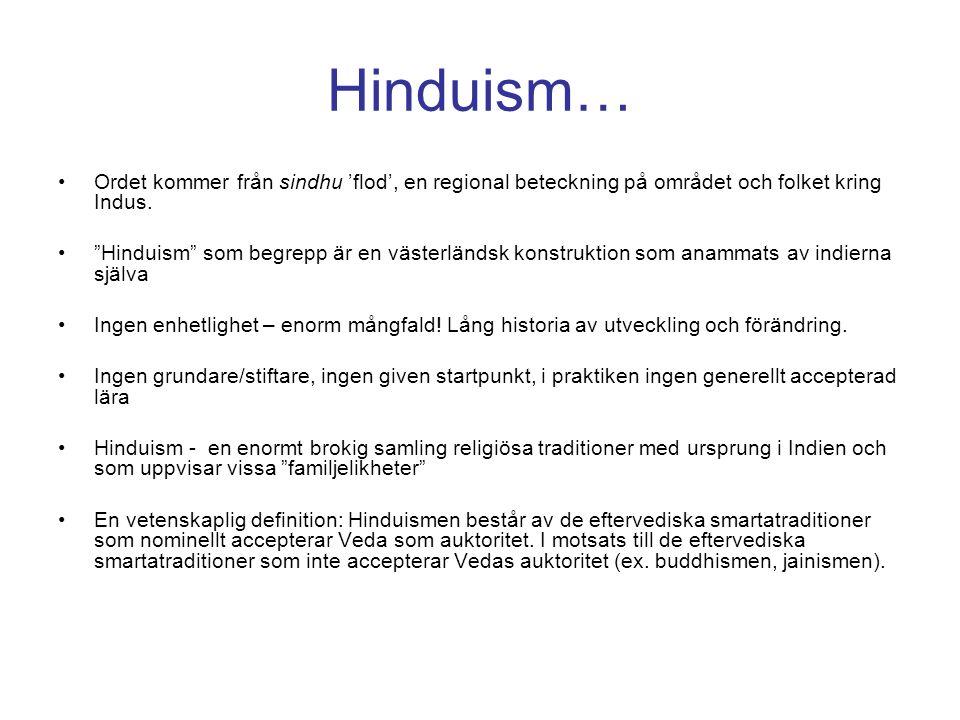 Hinduism… Ordet kommer från sindhu 'flod', en regional beteckning på området och folket kring Indus.