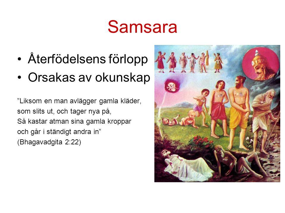 Samsara Återfödelsens förlopp Orsakas av okunskap Liksom en man avlägger gamla kläder, som slits ut, och tager nya på, Så kastar atman sina gamla kroppar och går i ständigt andra in (Bhagavadgita 2:22)