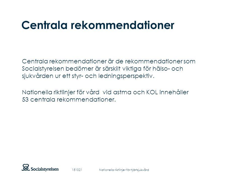 Att visa fotnot, datum, sidnummer Klicka på fliken Infoga och klicka på ikonen sidhuvud/sidfot Klistra in text: Klistra in texten, klicka på ikonen (Ctrl), välj Behåll endast text Centrala rekommendationer Centrala rekommendationer är de rekommendationer som Socialstyrelsen bedömer är särskilt viktiga för hälso- och sjukvården ur ett styr- och ledningsperspektiv.