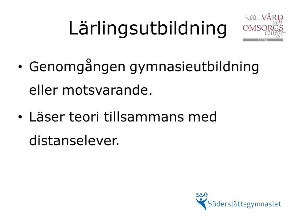 Lärlingsutbildning Genomgången gymnasieutbildning eller motsvarande.
