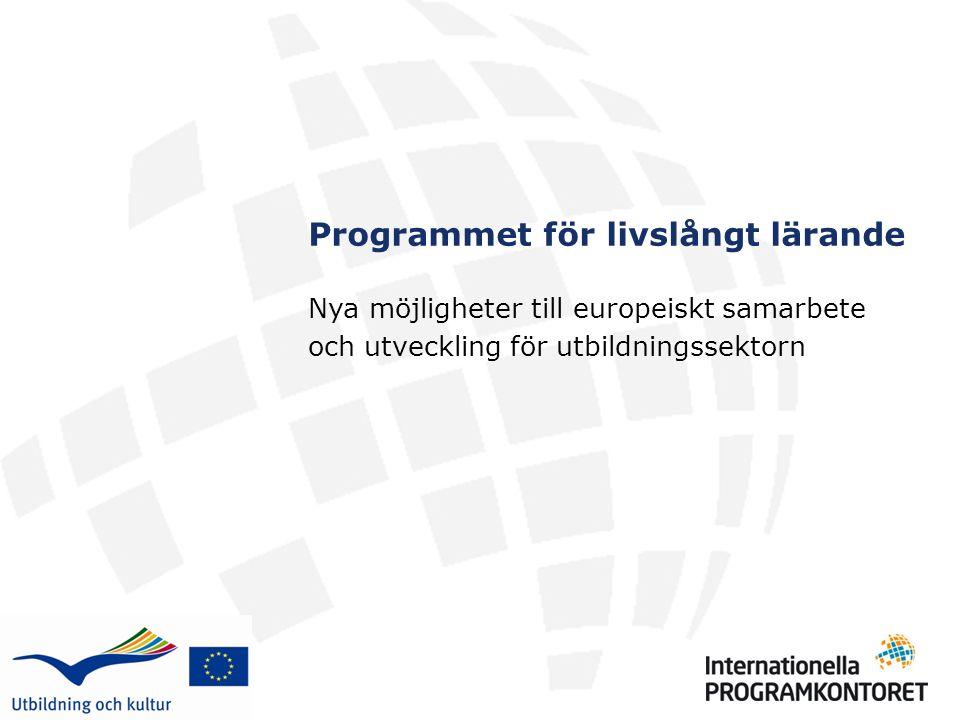 Programmet för livslångt lärande Nya möjligheter till europeiskt samarbete och utveckling för utbildningssektorn