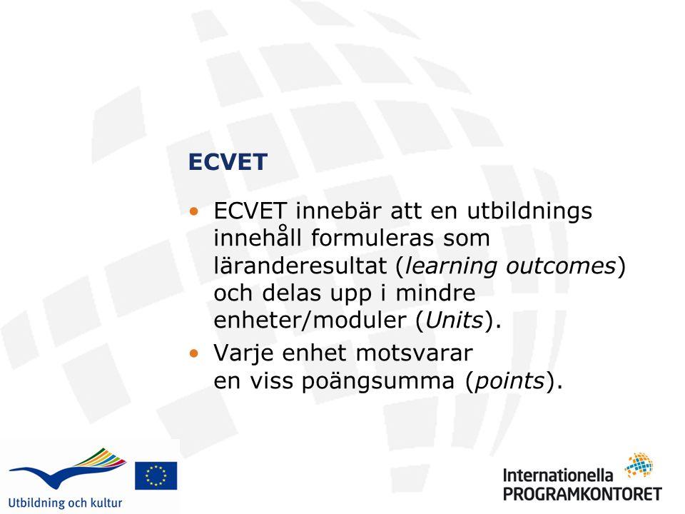 ECVET ECVET innebär att en utbildnings innehåll formuleras som läranderesultat (learning outcomes) och delas upp i mindre enheter/moduler (Units).