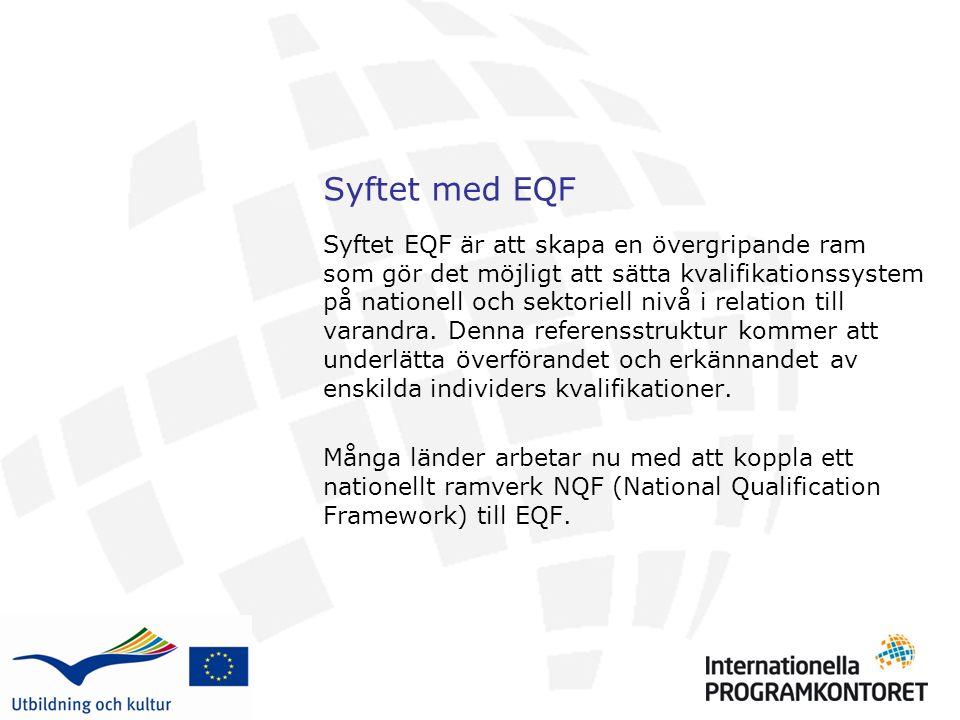 Syftet med EQF Syftet EQF är att skapa en övergripande ram som gör det möjligt att sätta kvalifikationssystem på nationell och sektoriell nivå i relation till varandra.