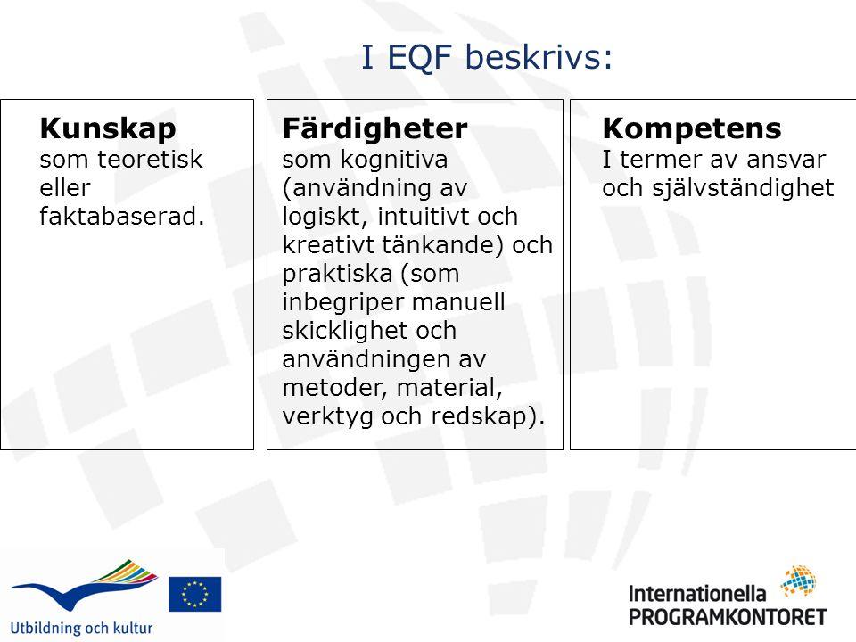 I EQF beskrivs: Kompetens I termer av ansvar och självständighet Kunskap som teoretisk eller faktabaserad.