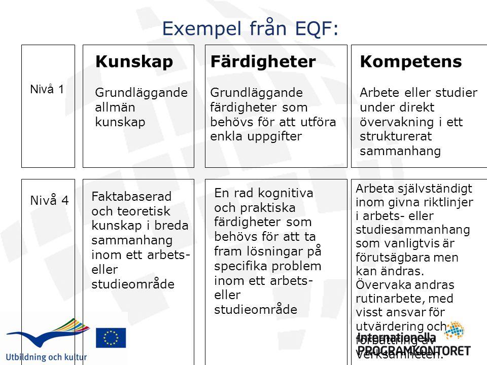 Exempel från EQF: Kompetens Arbete eller studier under direkt övervakning i ett strukturerat sammanhang Kunskap Grundläggande allmän kunskap Färdigheter Grundläggande färdigheter som behövs för att utföra enkla uppgifter Nivå 1 Nivå 4 Faktabaserad och teoretisk kunskap i breda sammanhang inom ett arbets- eller studieområde En rad kognitiva och praktiska färdigheter som behövs för att ta fram lösningar på specifika problem inom ett arbets- eller studieområde Arbeta självständigt inom givna riktlinjer i arbets- eller studiesammanhang som vanligtvis är förutsägbara men kan ändras.