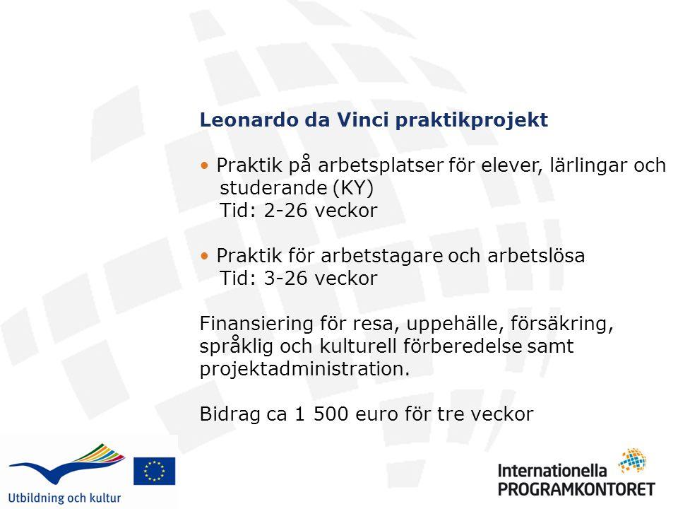 Leonardo da Vinci praktikprojekt Praktik på arbetsplatser för elever, lärlingar och studerande (KY) Tid: 2-26 veckor Praktik för arbetstagare och arbetslösa Tid: 3-26 veckor Finansiering för resa, uppehälle, försäkring, språklig och kulturell förberedelse samt projektadministration.