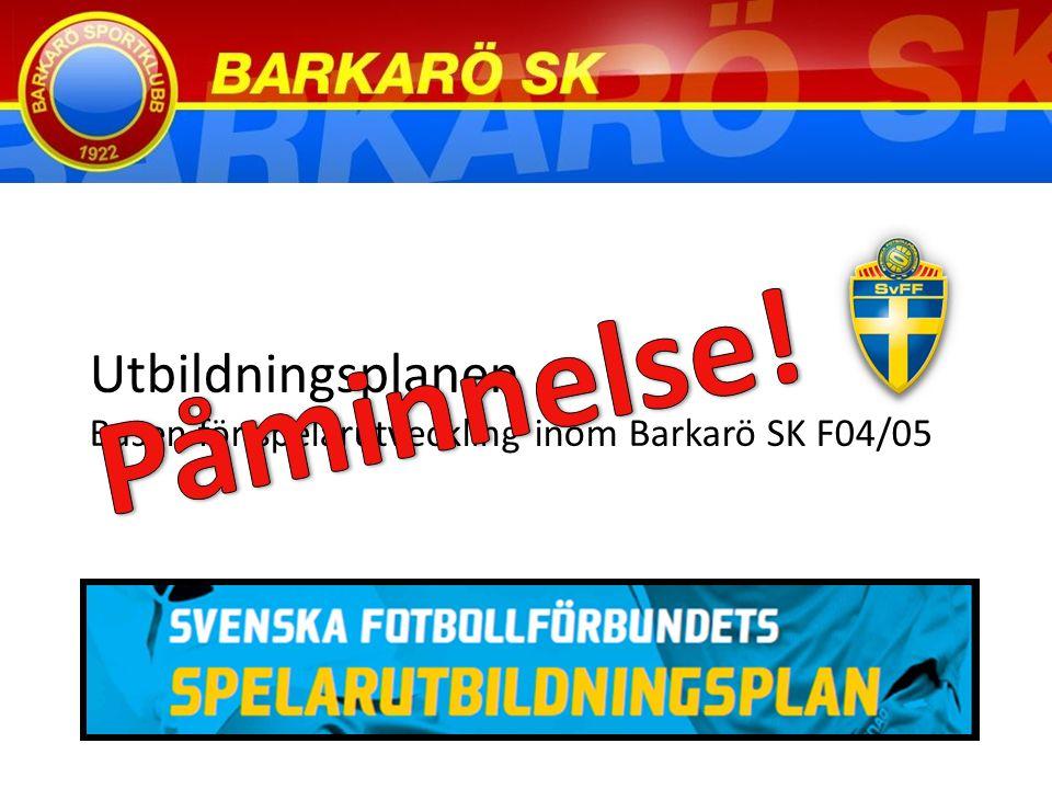 Utbildningsplanen Basen för spelarutveckling inom Barkarö SK F04/05