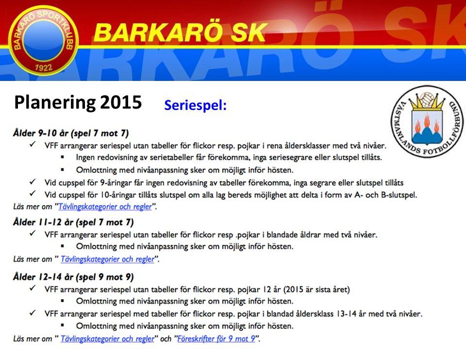 Planering 2015 Seriespel:
