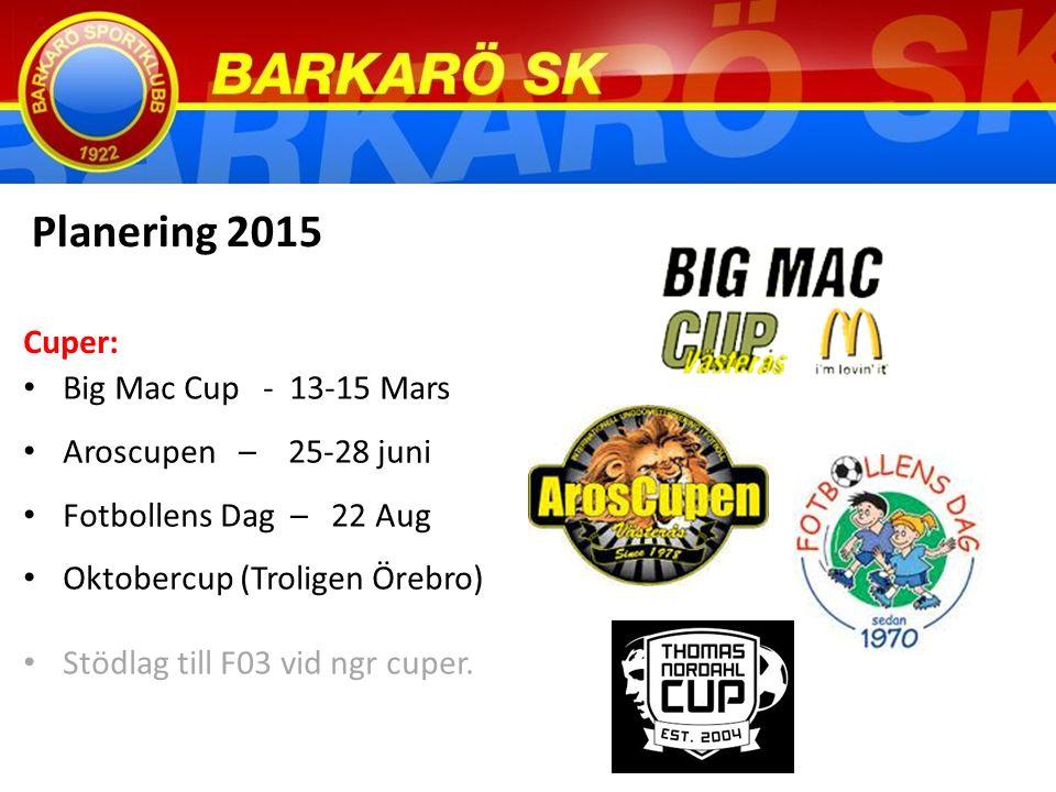 Big Mac Cup - 13-15 Mars Aroscupen – 25-28 juni Fotbollens Dag – 22 Aug Oktobercup (Troligen Örebro) Stödlag till F03 vid ngr cuper.