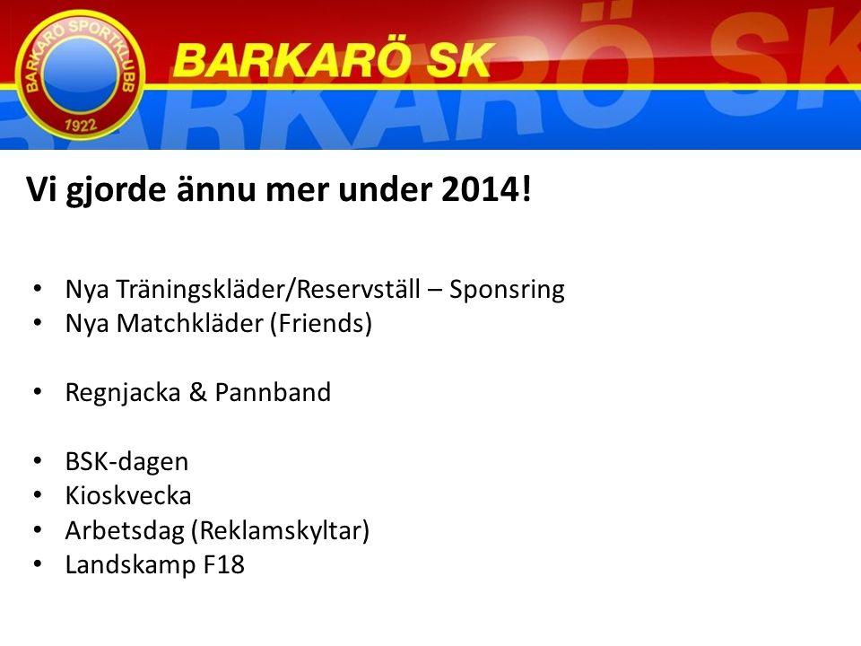 Nya Träningskläder/Reservställ – Sponsring Nya Matchkläder (Friends) Regnjacka & Pannband BSK-dagen Kioskvecka Arbetsdag (Reklamskyltar) Landskamp F18 Vi gjorde ännu mer under 2014!
