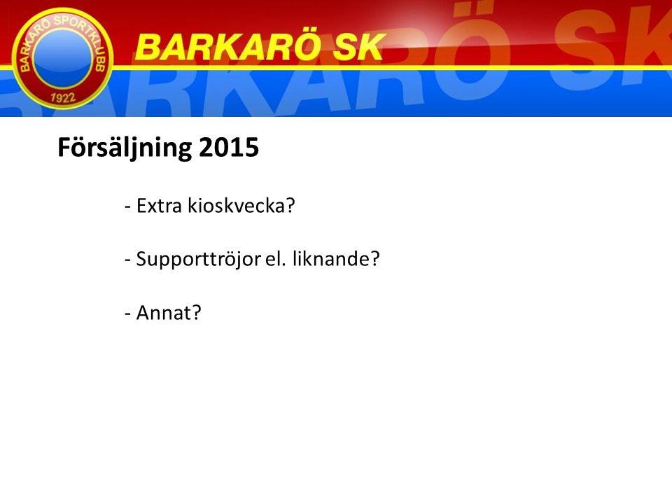 Försäljning 2015 - Extra kioskvecka - Supporttröjor el. liknande - Annat