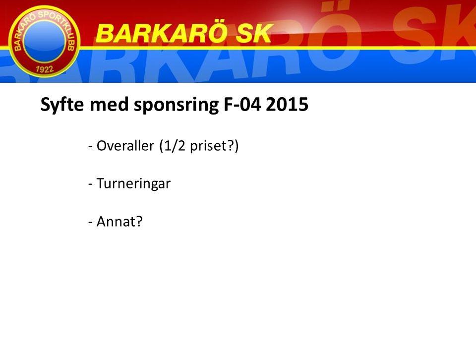 Syfte med sponsring F-04 2015 - Overaller (1/2 priset ) - Turneringar - Annat