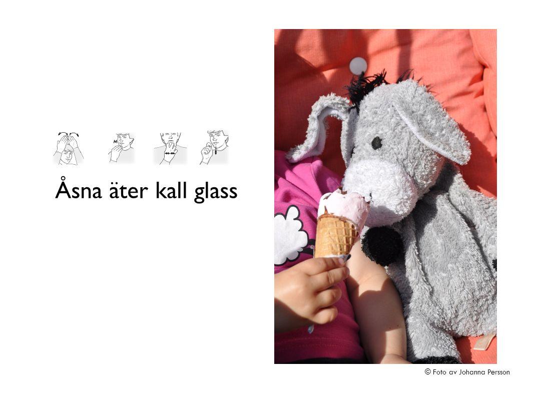 Åsna äter kall glass © Foto av Johanna Persson