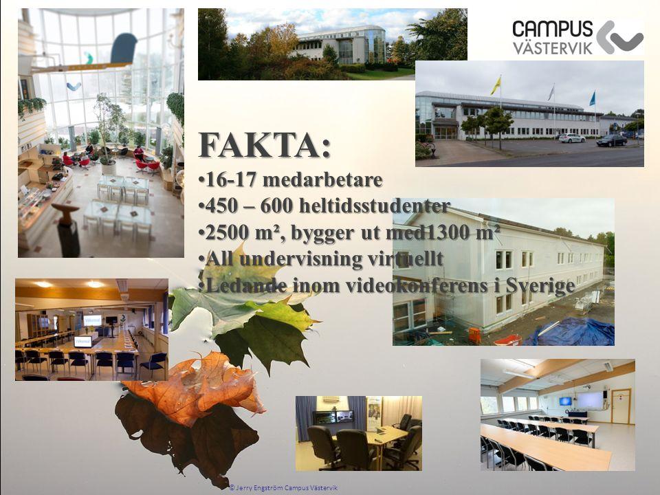 FAKTA: 16-17 medarbetare16-17 medarbetare 450 – 600 heltidsstudenter450 – 600 heltidsstudenter 2500 m², bygger ut med1300 m²2500 m², bygger ut med1300 m² All undervisning virtuelltAll undervisning virtuellt Ledande inom videokonferens i SverigeLedande inom videokonferens i Sverige
