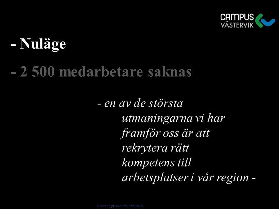 © Jerry Engström Campus Västervik - Nuläge - 2 500 medarbetare saknas - en av de största utmaningarna vi har framför oss är att rekrytera rätt kompetens till arbetsplatser i vår region -