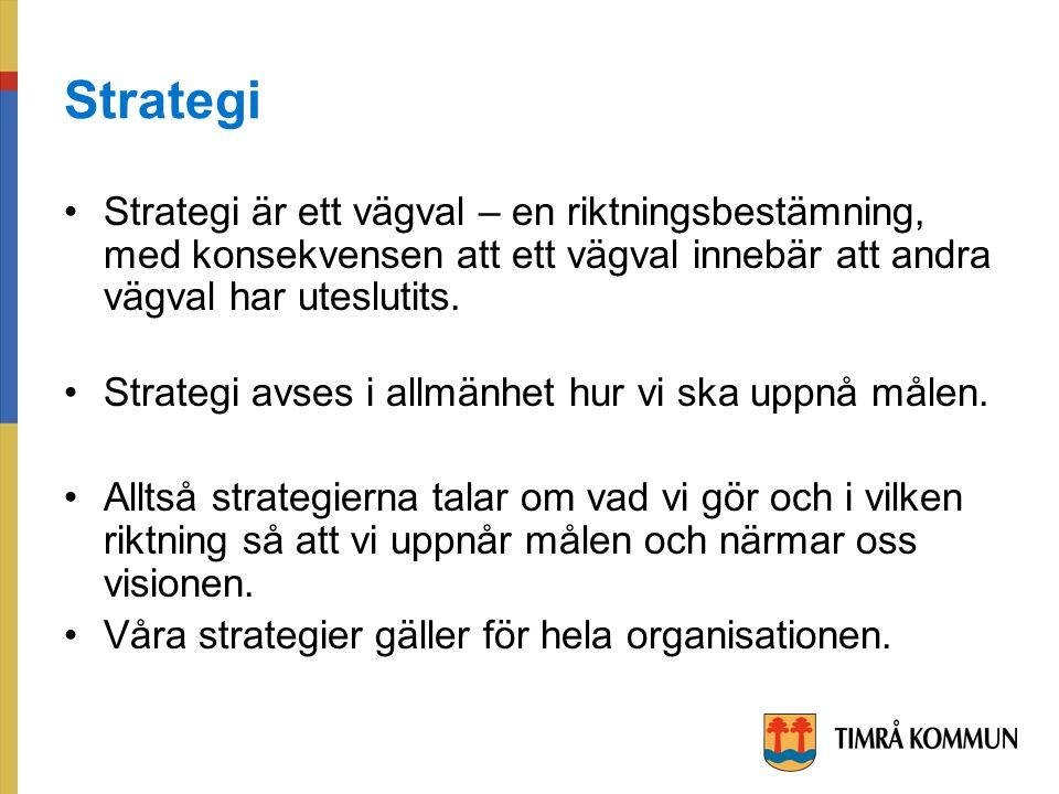 Strategi Strategi är ett vägval – en riktningsbestämning, med konsekvensen att ett vägval innebär att andra vägval har uteslutits.