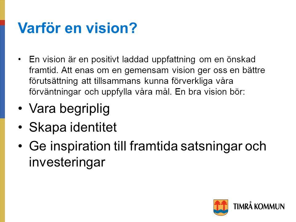 Varför en vision. En vision är en positivt laddad uppfattning om en önskad framtid.