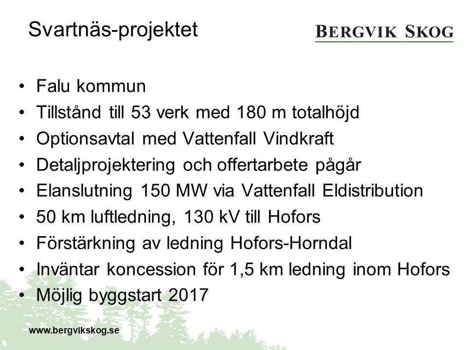 Svartnäs-projektet Falu kommun Tillstånd till 53 verk med 180 m totalhöjd Optionsavtal med Vattenfall Vindkraft Detaljprojektering och offertarbete på