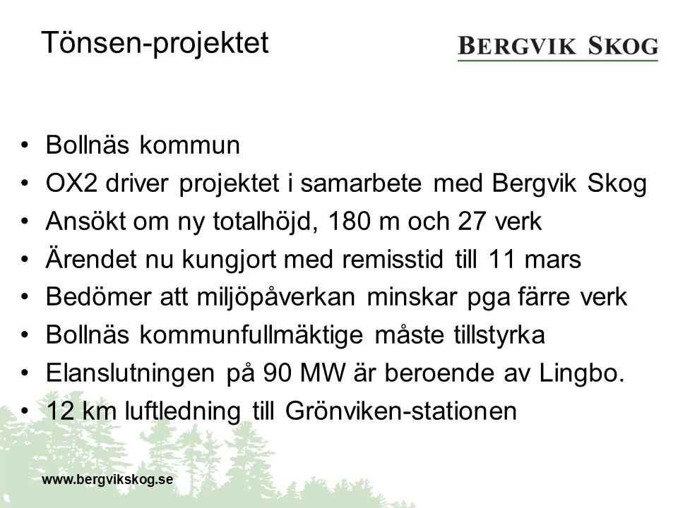 Tönsen-projektet Bollnäs kommun OX2 driver projektet i samarbete med Bergvik Skog Ansökt om ny totalhöjd, 180 m och 27 verk Ärendet nu kungjort med re