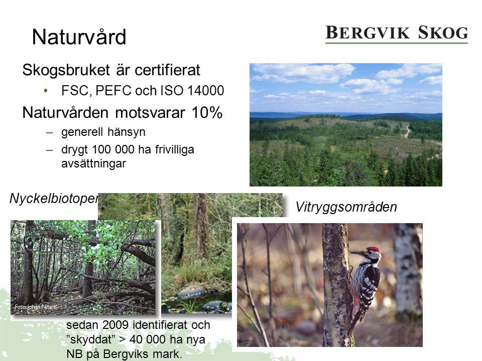 Naturvård Vitryggsområden Skogsbruket är certifierat FSC, PEFC och ISO 14000 Naturvården motsvarar 10% –generell hänsyn –drygt 100 000 ha frivilliga a
