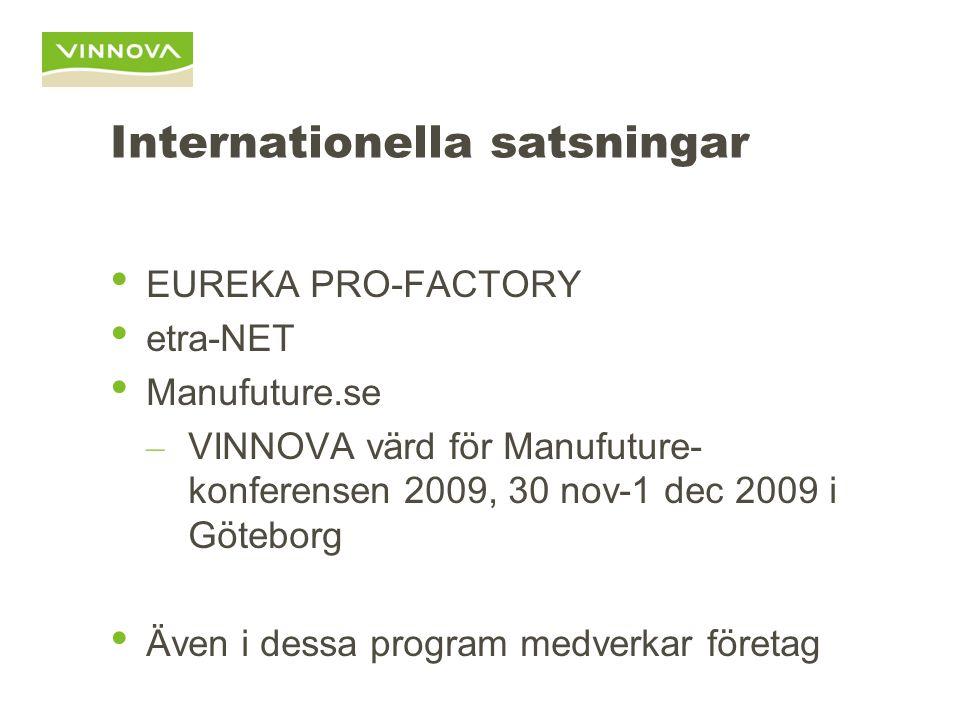 Internationella satsningar EUREKA PRO-FACTORY etra-NET Manufuture.se – VINNOVA värd för Manufuture- konferensen 2009, 30 nov-1 dec 2009 i Göteborg Även i dessa program medverkar företag