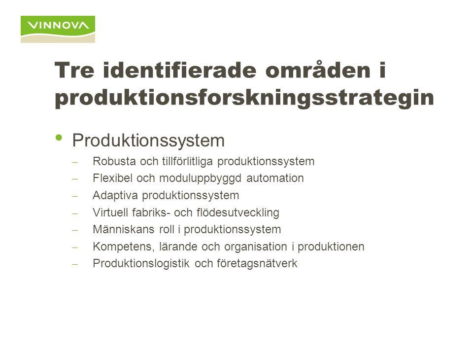 Tre identifierade områden i produktionsforskningsstrategin Produktionssystem – Robusta och tillförlitliga produktionssystem – Flexibel och moduluppbyg