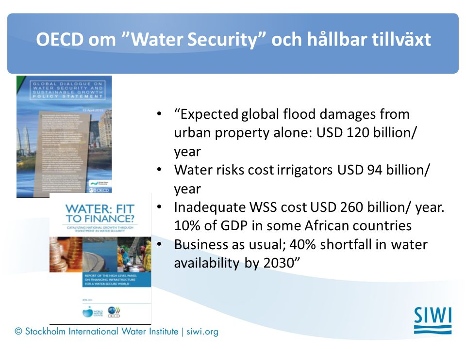 OECD om Water Security och hållbar tillväxt Expected global flood damages from urban property alone: USD 120 billion/ year Water risks cost irrigators USD 94 billion/ year Inadequate WSS cost USD 260 billion/ year.