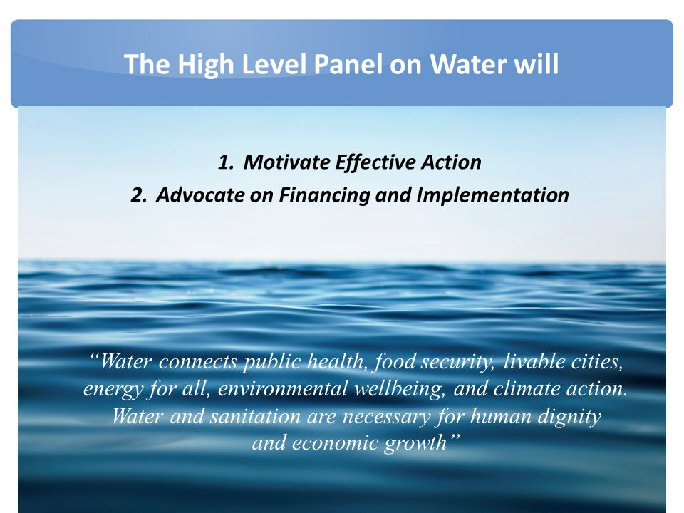 The High Level Panel on Water will 1.Motivate Effective Action 2.Advocate on Financing and Implementation Water connects public health, food security, livable cities, energy for all, environmental wellbeing, and climate action.