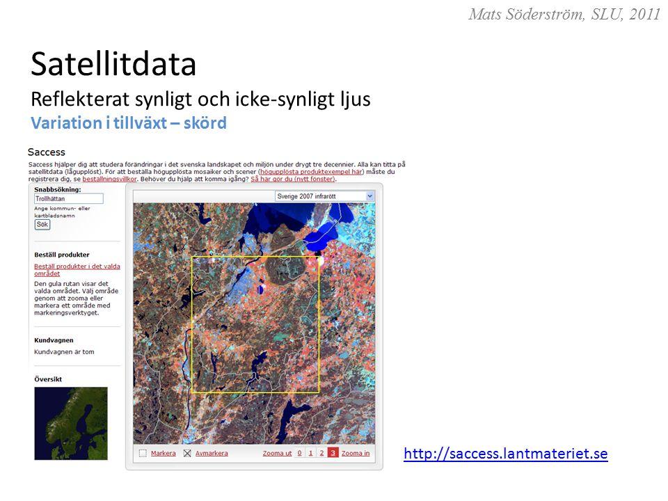 Mats Söderström, SLU, 2011 Satellitdata Reflekterat synligt och icke-synligt ljus Variation i tillväxt – skörd http://saccess.lantmateriet.se