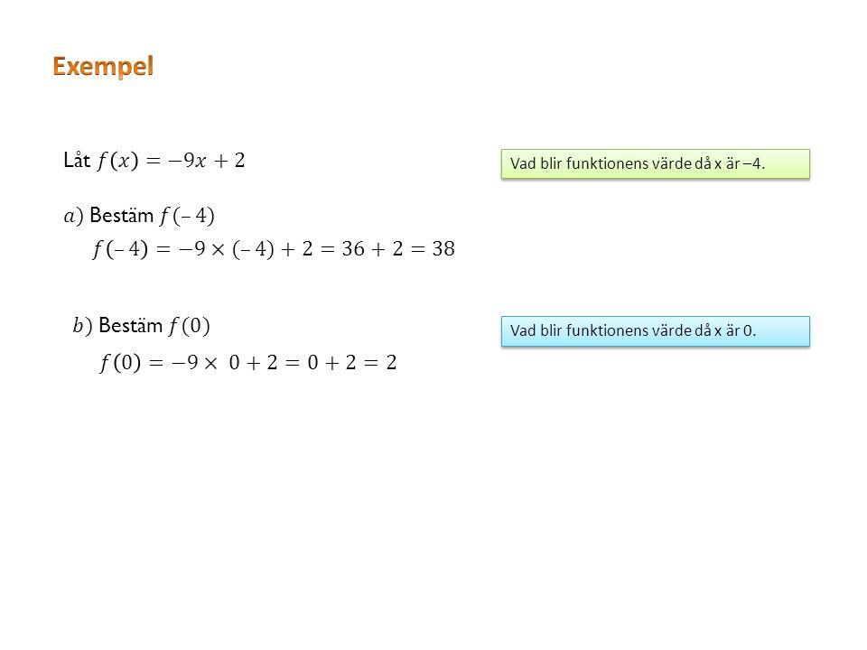Vad blir funktionens värde då x är –4. Vad blir funktionens värde då x är 0.
