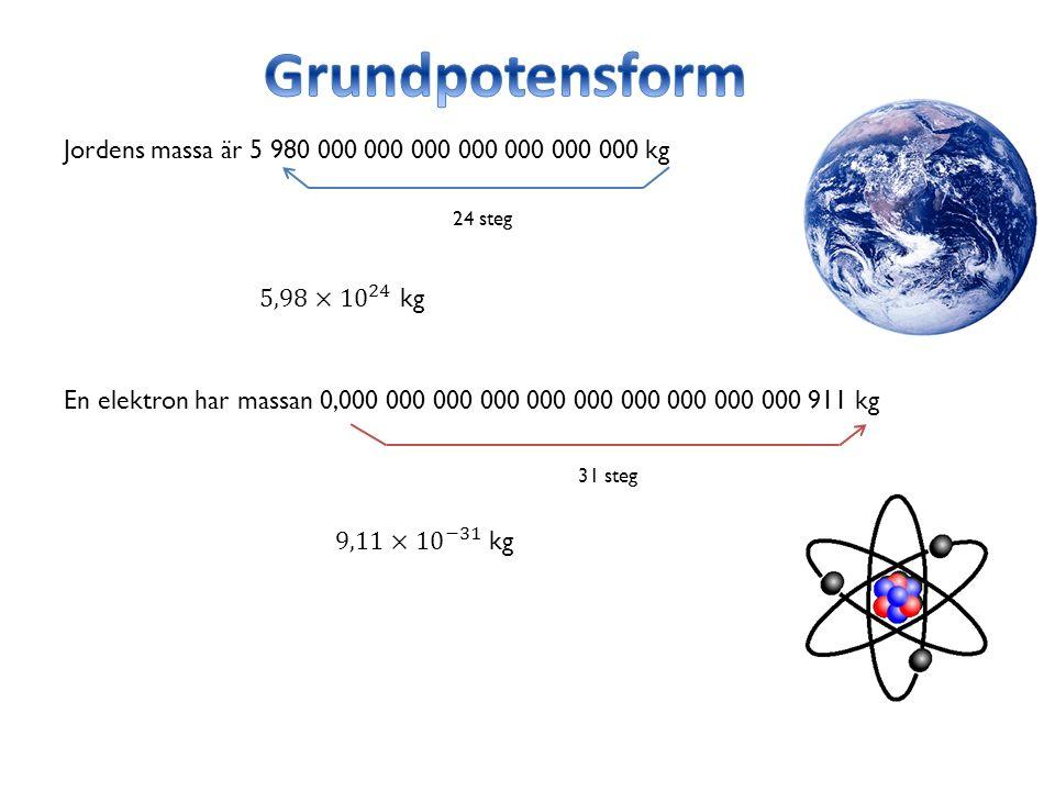 Jordens massa är 5 980 000 000 000 000 000 000 000 kg 24 steg En elektron har massan 0,000 000 000 000 000 000 000 000 000 000 911 kg 31 steg