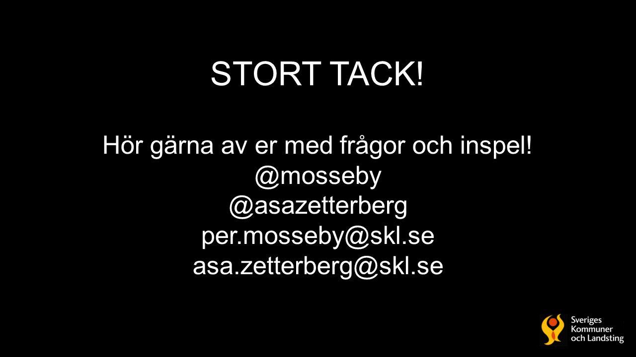 STORT TACK! Hör gärna av er med frågor och inspel! @mosseby @asazetterberg per.mosseby@skl.se asa.zetterberg@skl.se