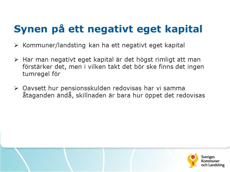 Synen på ett negativt eget kapital  Kommuner/landsting kan ha ett negativt eget kapital  Har man negativt eget kapital är det högst rimligt att man