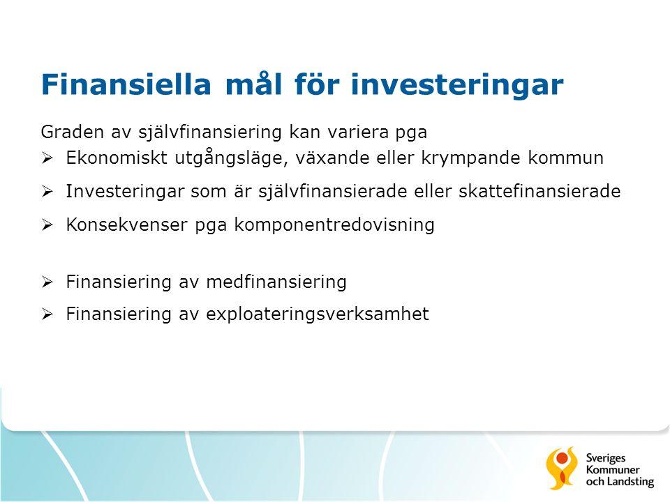 Finansiella mål för investeringar Graden av självfinansiering kan variera pga  Ekonomiskt utgångsläge, växande eller krympande kommun  Investeringar