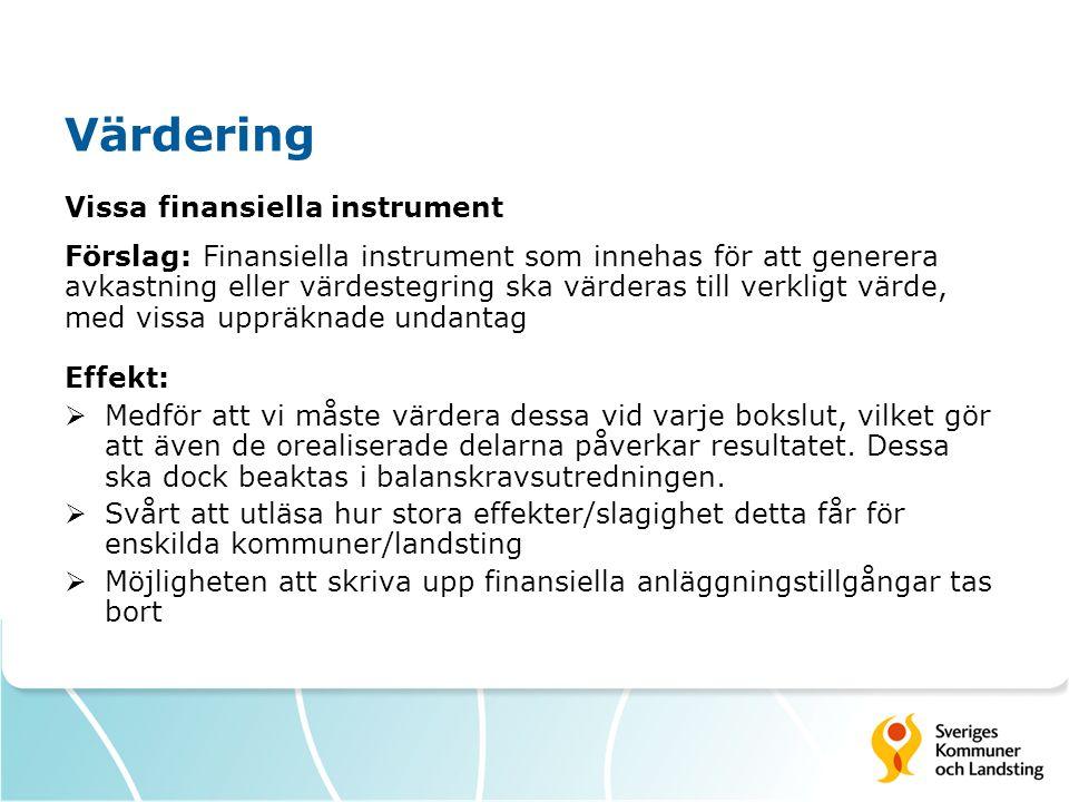 Värdering Vissa finansiella instrument Förslag: Finansiella instrument som innehas för att generera avkastning eller värdestegring ska värderas till