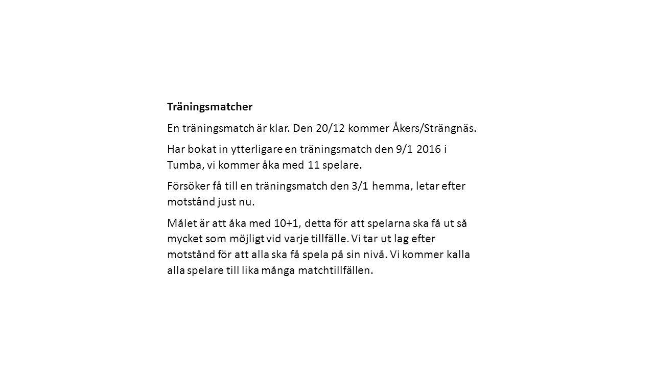 Träningsmatcher En träningsmatch är klar. Den 20/12 kommer Åkers/Strängnäs. Har bokat in ytterligare en träningsmatch den 9/1 2016 i Tumba, vi kommer